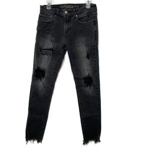 American Eagle Black Distressed Skinny Jeans